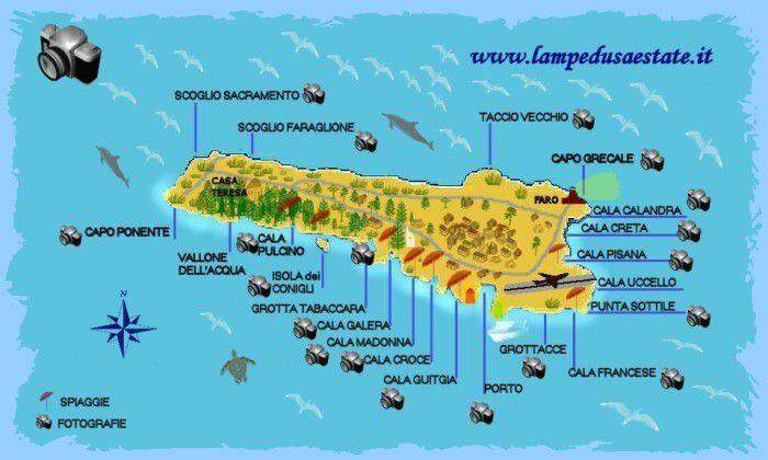 Cartina Isola Di Lampedusa.Lampedusa Estate Cartina Isola Di Lampedusa
